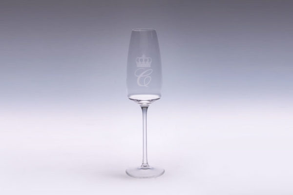 Customized champagne glass, frosting